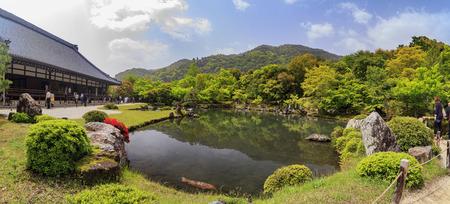 historical reflections: Garden with pond in front of Tenryu-ji Temple at Arashiyama, Kyoto, Japan