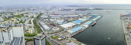 cosmo: aerial view of Osaka port cityscape from Cosmo Tower Observatory