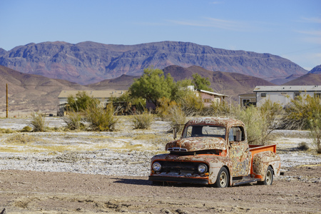 Special abandoned car with blue sky at Tecopa, California
