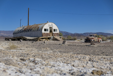 Special abandoned house with blue sky at Tecopa, California Editorial