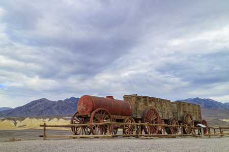 The old water tank car at Harmony Borax Works of Death Valley National Park Editorial