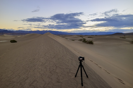 stovepipe: Camera taking photo of the Mesquite Flat Dunes at Stovepipe Wells, Death Valley National Park