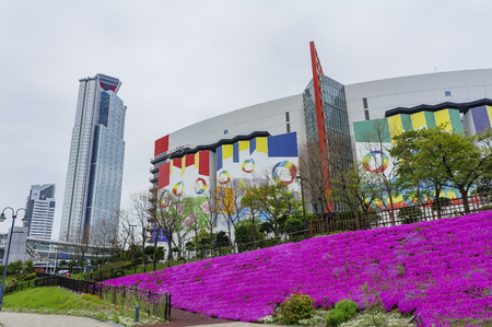 cosmo: Osaka, APR 29: Cosmo Tower and ATC Shopping Mall with purple flowers blossom on APR 29, 2011 at Osaka, Japan