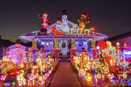 Los Angeles, DEC 5: Beautiful christmas decoration of American style house on DEC 5, 2016 at Los Angeles