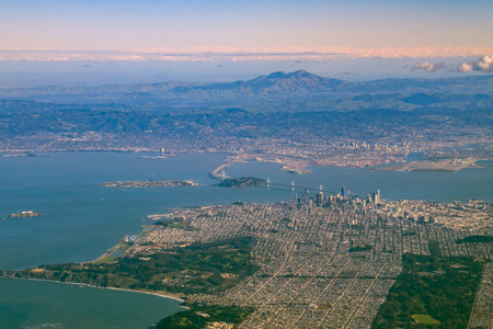 Aerial view of San Francisco downtown cityscape with Mt Diablo, California