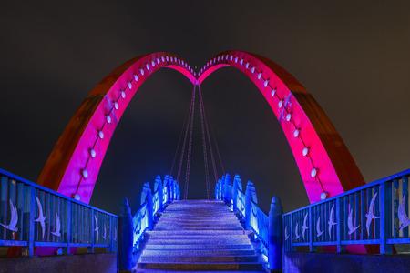 county side: Night view of the beautiful Rainbow Bridge at Yuanli, Taiwan
