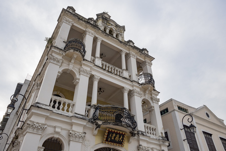 The historical Bairro de Sao Lazaro area at Macau, China Editorial