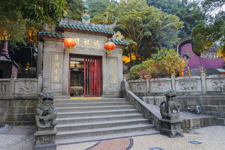 Afternoon view of the historical A-Ma Temple at Macau, China
