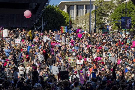 Los Angeles, JAN 21: Special Women March event and Protesters on JAN 21, 2017 at Los Angeles, California Editorial