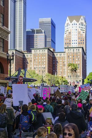 protesters: Los Angeles, JAN 21: Special Women March event and Protesters on JAN 21, 2017 at Los Angeles, California Editorial