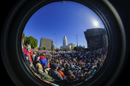 protesters: Los Angeles, JAN 21: Fisheye view of the special Women March event and Protesters on JAN 21, 2017 at Los Angeles, California
