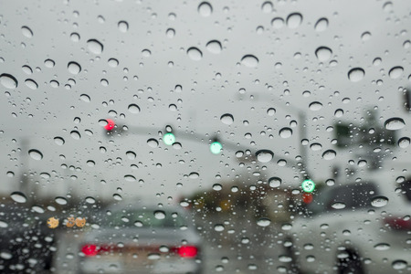 Driving in the rain at Los Angeles, Calfornia Stock Photo