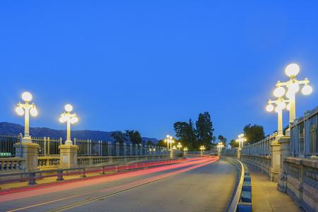 pasadena: Night view of Colorado Street Bridge, Pasadena, California, USA