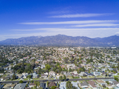Aerial view of Arcadia with San Gabriel Mountain view Stock Photo