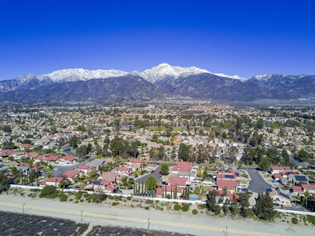 Aerial view of Mount Baldy and Rancho Cucamonga area