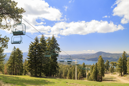 county side: Morning view of Big bear lake with cable car, Los Angeles County, California