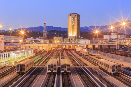Night view of the Metro system in Los Angeles, California Editorial