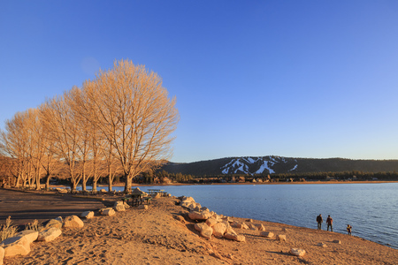 county side: Sunset view of Big bear lake, Los Angels County, California Stock Photo