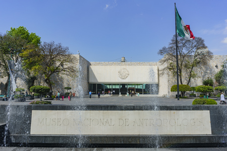 Mexico City, FEB 16: Entrance of the National Museum of Anthropology (Museo Nacional de Antropologia, MNA) on FEB 16, 2017 at Mexico Cityon FEB 16, 2017 at Mexico City