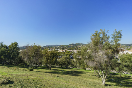 Los Angeles, MAR 9: Beautiful cityscape with LA Full Gospel Church, Hollywood sign and Griffith Observatory around Barnsdall Art Park on MAR 9, 2017 at Los Angeles, California