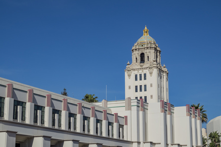 Beautiful main building of Beverly Hills city hall, Los Angeles, California