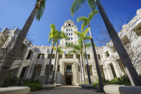 civic: Beautiful main building of Beverly Hills city hall, Los Angeles, California