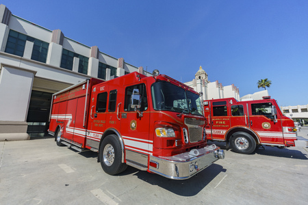 civic: Fire department with red truck around Beverly Hills city hall, Los Angeles, California Editorial