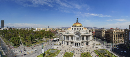 Aerial morning view of the Palace of Fine Arts, Cathedral of Art in Mexico City