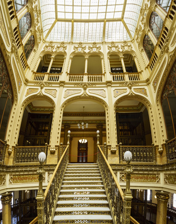 Mexico City, FEB 19: The inner view of the historical and beautiful Palacio Postal on FEB 19, 2017 at Mexico City