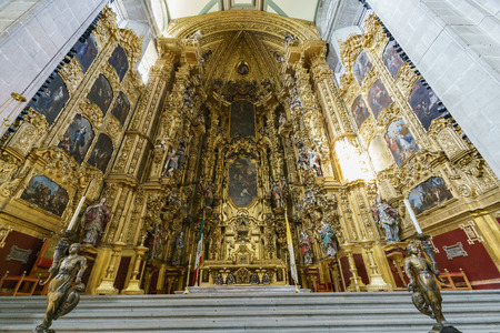 Mexico City, FEB 17: Interior view of the historical Mexico City Metropolitan Cathedral on FEB 17, 2017 at Mexico City
