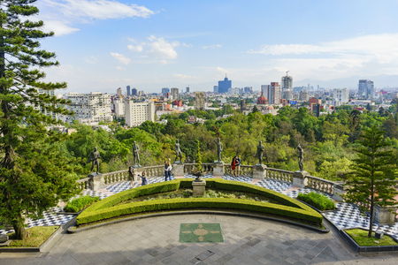 Mexico City, FEB 17: Aerial cityscape from Chapultepec Castle on FEB 17, 2017 at Mexico City
