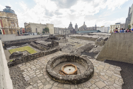 Mexico City, FEB 19: The historical and beautiful Templo Mayor Museum on FEB 19, 2017 at Mexico City