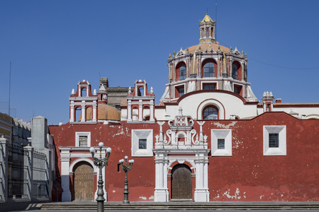 Exterior  view of Church of Santo Domingo at Puebla, Mexico Stock Photo