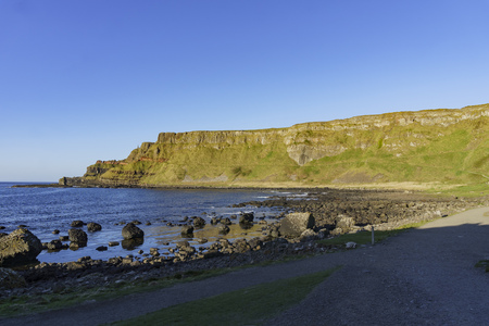 eruption: The famous ancient volcanic eruption - Giants Causeway of County Antrim, Northern Ireland Stock Photo