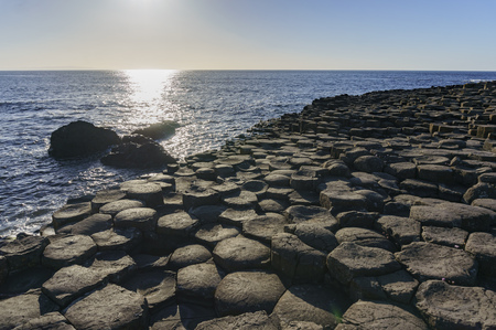 The famous ancient volcanic eruption - Giants Causeway of County Antrim, Northern Ireland Stock Photo