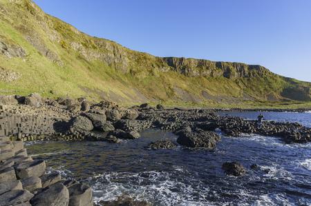 The famous ancient volcanic eruption - Giant's Causeway of County Antrim, Northern Ireland 版權商用圖片