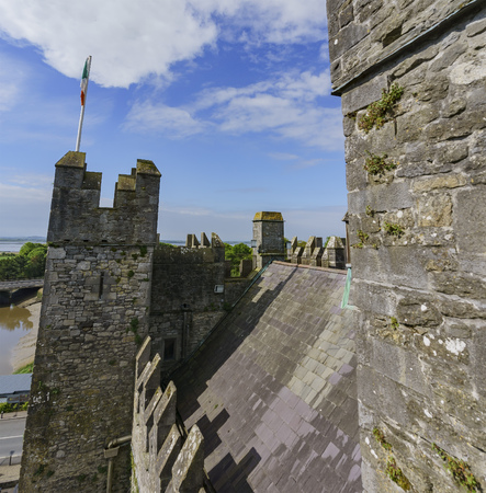 Aerial view from the historical Bunratty Castle & Folk Park at County Clare, Ireland
