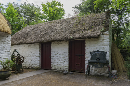 Clare, May 7: Traditional house in the historical Bunratty Castle & Folk Park on MAY 7, 2017 at County Clare, Ireland