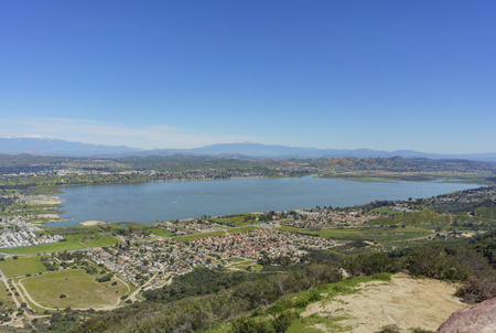 Aerial view of Lake Elsinore and the cityscape, California