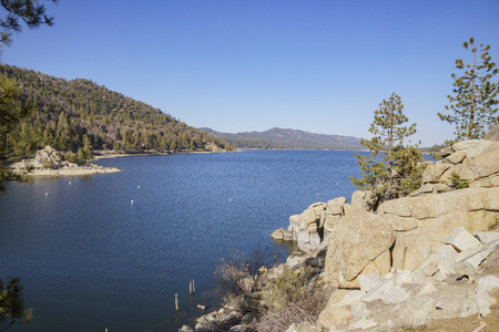 Morning view of the beautiful Big bear lake, Los Angeles County, California Stock Photo