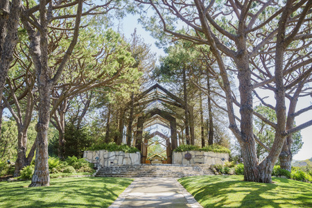 The beautiful Glass Church - Wayfarers Chapel at Rancho Palos Verdes, California