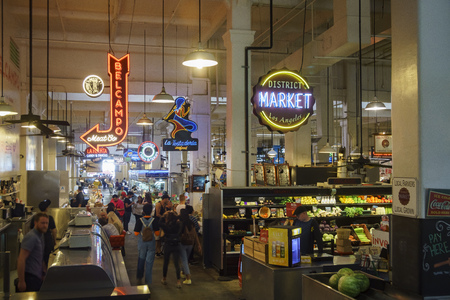 Los Angeles , APR 11: The famous and historical Grand Central Market on APR 11, 2017 at Los Angeles, California