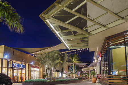 Arcadia, APR 27: Night view of Santa Anita Mall on APR 27, 2017 at Arcadia, Los Angeles, California