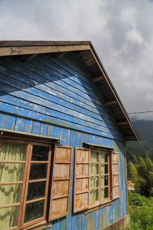 The famous Jimmy blue wooden house at Fenqihu area, Taiwan. Its a movie scenario of the film The Starry Starry Night at Taiwan.
