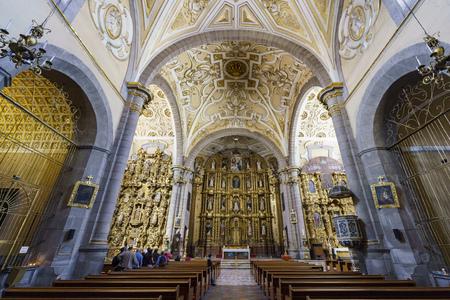 Puebla, FEB 18: Interior  view of Church of Santo Domingo on FEB 18, 2017 at Puebla, Mexico Editorial