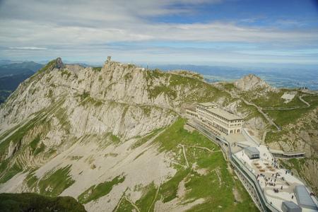 bellevue: landscape over Mount Pilatus, Lucerne, Switzerland Editorial