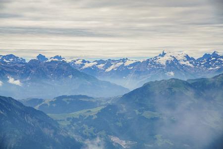 landscape over Mount Pilatus, Lucerne, Switzerland Stock Photo