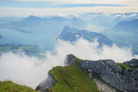 landscape with lake over Mount Pilatus, Lucerne, Switzerland