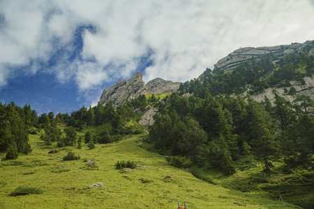 Scenic view from the special train climbing up to the Mount Pilatus, Lucerne, Switzerland Stock Photo