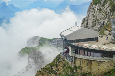 The new and beautiful aerial cable car - Dragon Ride at Mount Pilatus, Lucerne, Switzerland